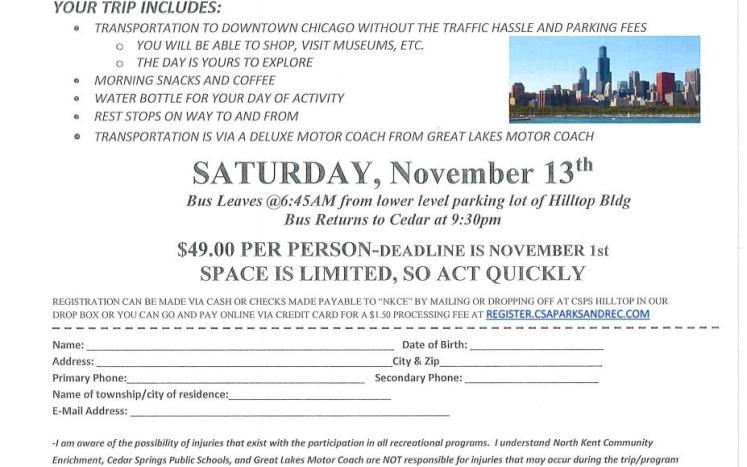 Chicago Bus trip flyer